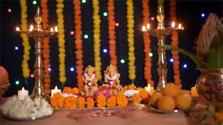 Bokeh shot of a decorated puja place/mandir/home temple for Diwali festival