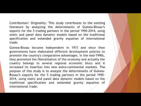 Guinea Bissau Trade A Panel Data Analysis ADPR 2019 74 277 296