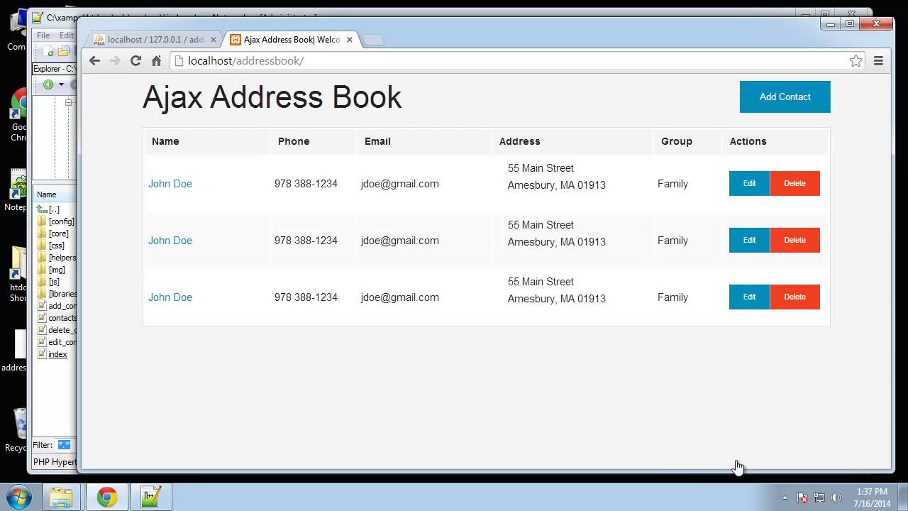 learn how to create an address book using php and mysql part 3