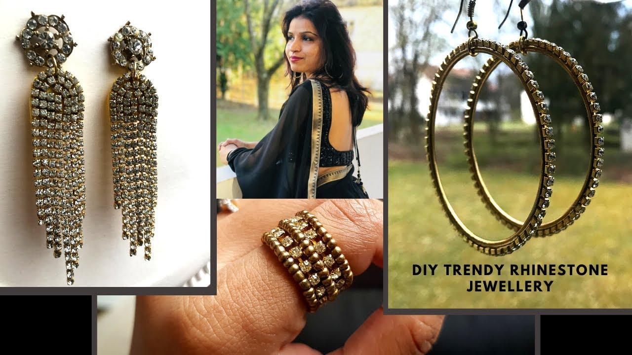 Easy DIY Crystal Rhinestone jewellery | Rhinestone Waterfall drop Earrings / Hoop Earrings / Ring