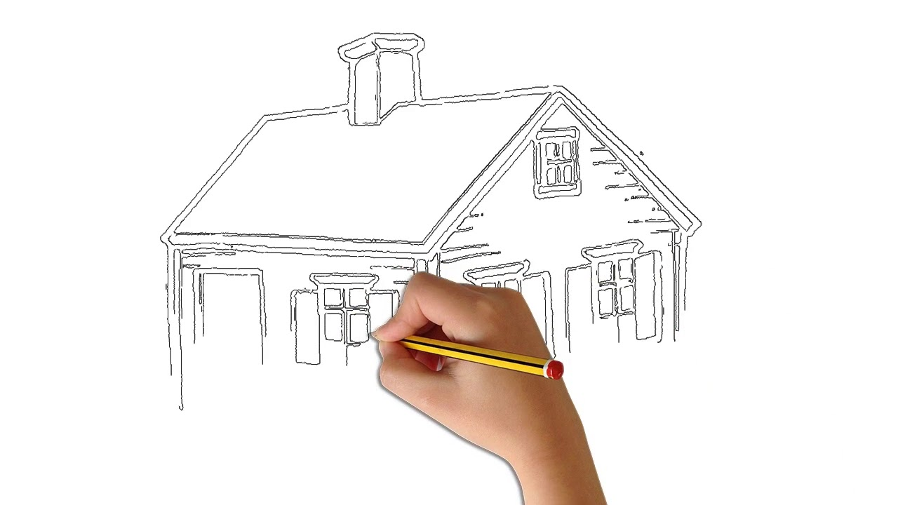 Villa clipart black and white pencil drawing animation gono