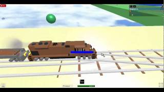 Trying to drive a train on ROBLOX's Trainz World