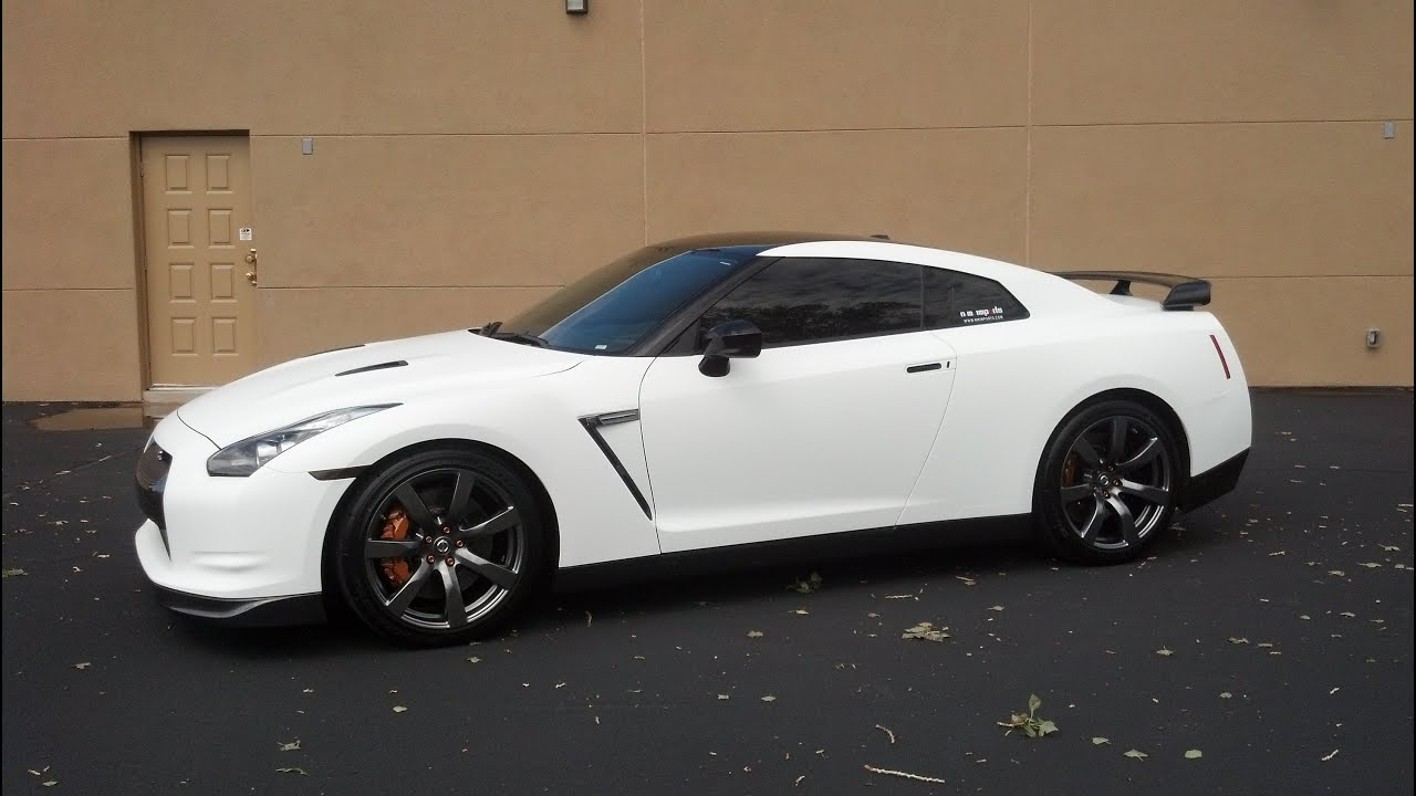 U002709 Nissan GTR Matte White Vinyl Wrap   YouTube