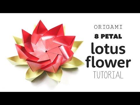 Origami 8 Petal Modular Lotus Flower - Paper Kawaii