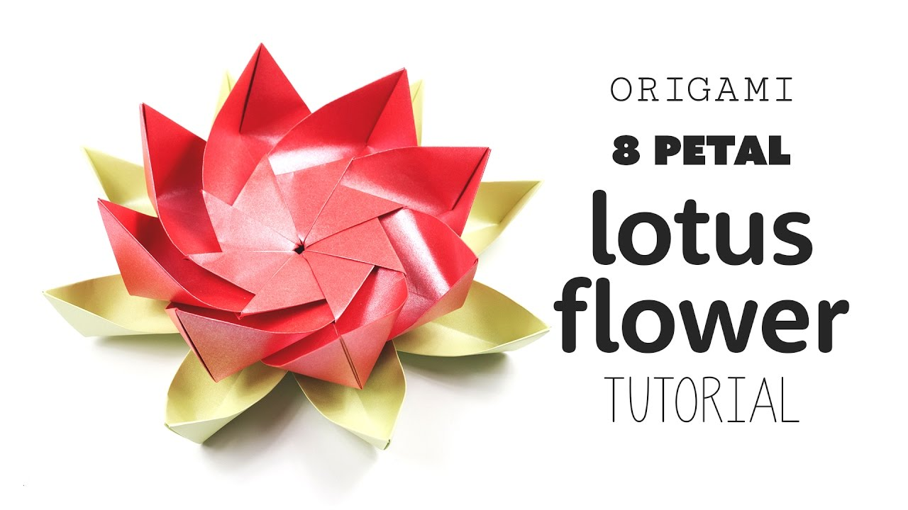 Origami 8 Petal Modular Lotus Flower DIY Paper Kawaii