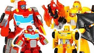Dinosaurs appear! Transformers Rescue Bots Elite Heatwave, Knight Watch Bumblebee! - DuDuPopTOY