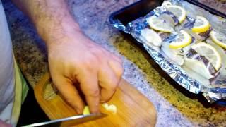 """Рыба """"Химера"""" на противне запеченная ( с лимоном и помидорами, чесноком )"""