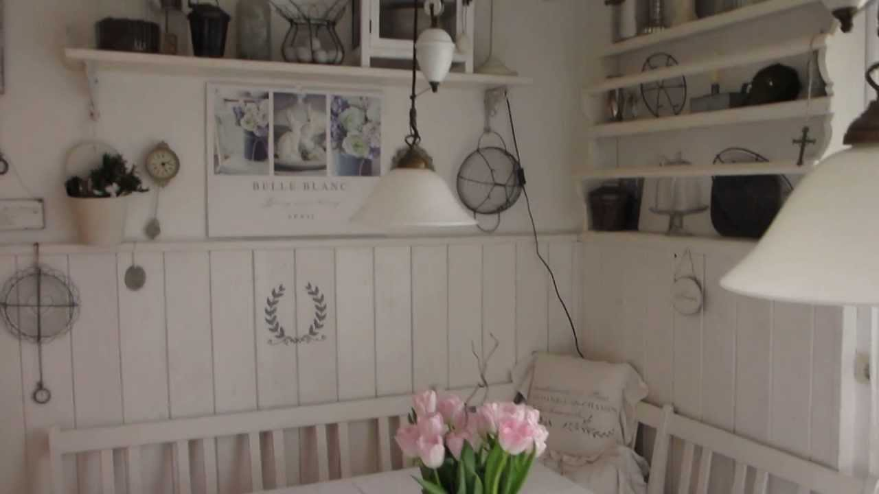 heidi s home shabby vintage wei e sitzecke in der k che mit tellerboard youtube. Black Bedroom Furniture Sets. Home Design Ideas