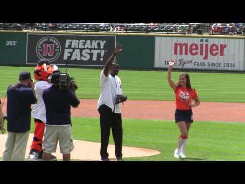 Reggie Hartsfield throws Detroit Tigers Ceromonial Opening Pitch