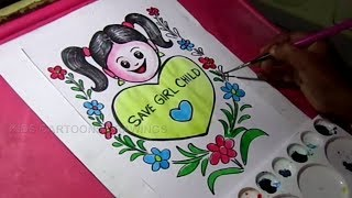 How to Draw Save Girl Child poster in Color Drawing