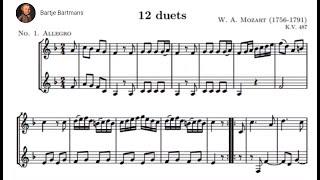 """Play Duos (12) for 2 horns (or 2 basset horns, """"Kegelduette"""") K. 487 (K. 496a)"""