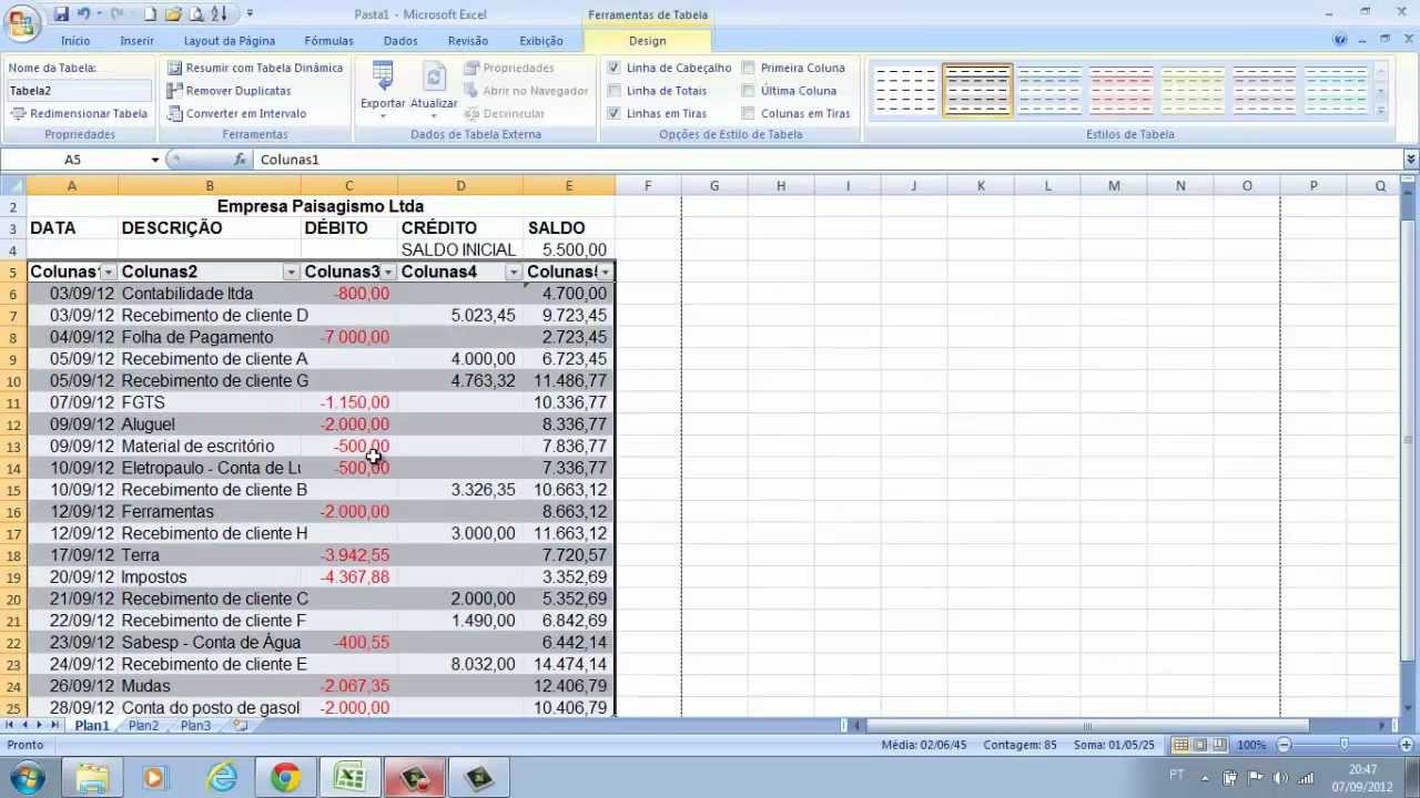 Excel Fluxo De Caixa Simples E Formatação Básica