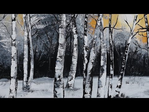 Black and White  Forest Step by Step Acrylic Painting | Modern Art