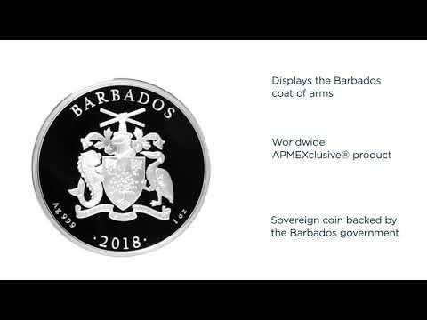 Caribbean Seahorse Barbados  2018 1 Oz Silver Coin