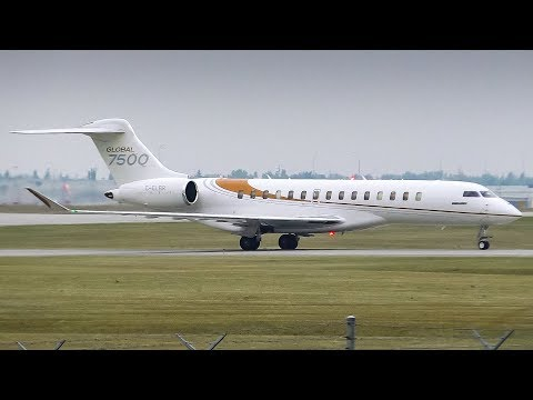 Bombardier Aerospace Global 7500 Arriving and Departing Calgary Airport