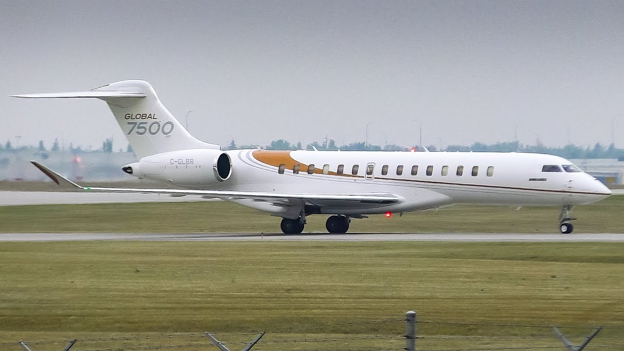 Arr Aeroe Global 7500 Arriving And Departing Calgary Airport