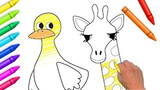 Drawing & Coloring For Kids | Zoo Animals Coloring Pages | Learn Colors For Children by Color World