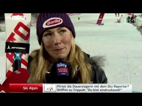 Mikaela Shiffrin flirtet mit Sky-Reporter