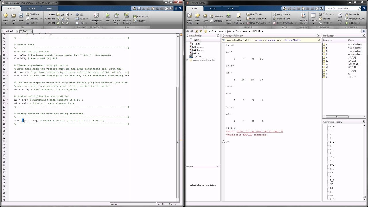 Matlab tutorial 2 creating matrices and matrix math for Table 2 matrix matlab