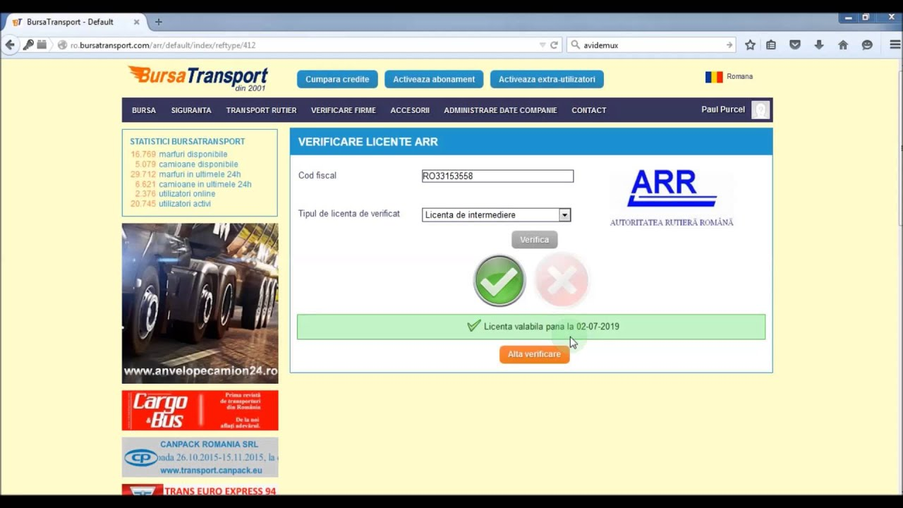 Verificarea Licentelor Arr In Bursatransport Com Youtube