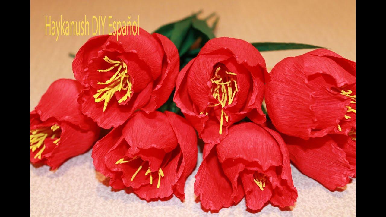 Como hacer flores de papel crepe flores de papel youtube for Como hacer crepes de chocolate