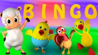 Бинго Собака | 3D детского стишка | Nursery Rhyme For Kids | Farm Song | Bingo The Dog