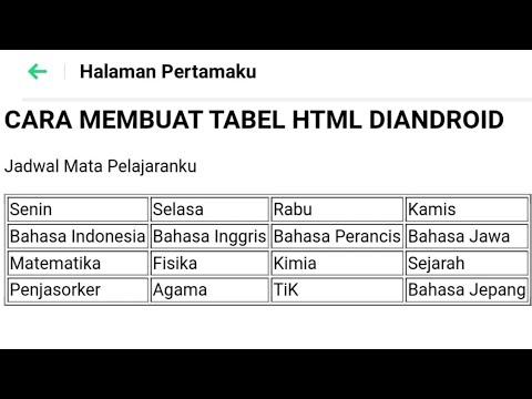 Cara Membuat Web HTML Di Android | Membuat Tabel