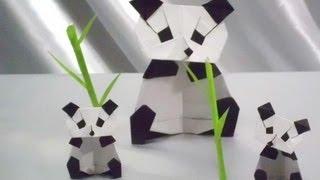 折り紙パンダと赤ちゃんパンダ(パンダファミリーおりがみしてみた)♪Origami Panda (baby panda origami) 折り紙でパンダヒーロー?妖怪ウォッチ?ミッキー?折り紙パンダ♥