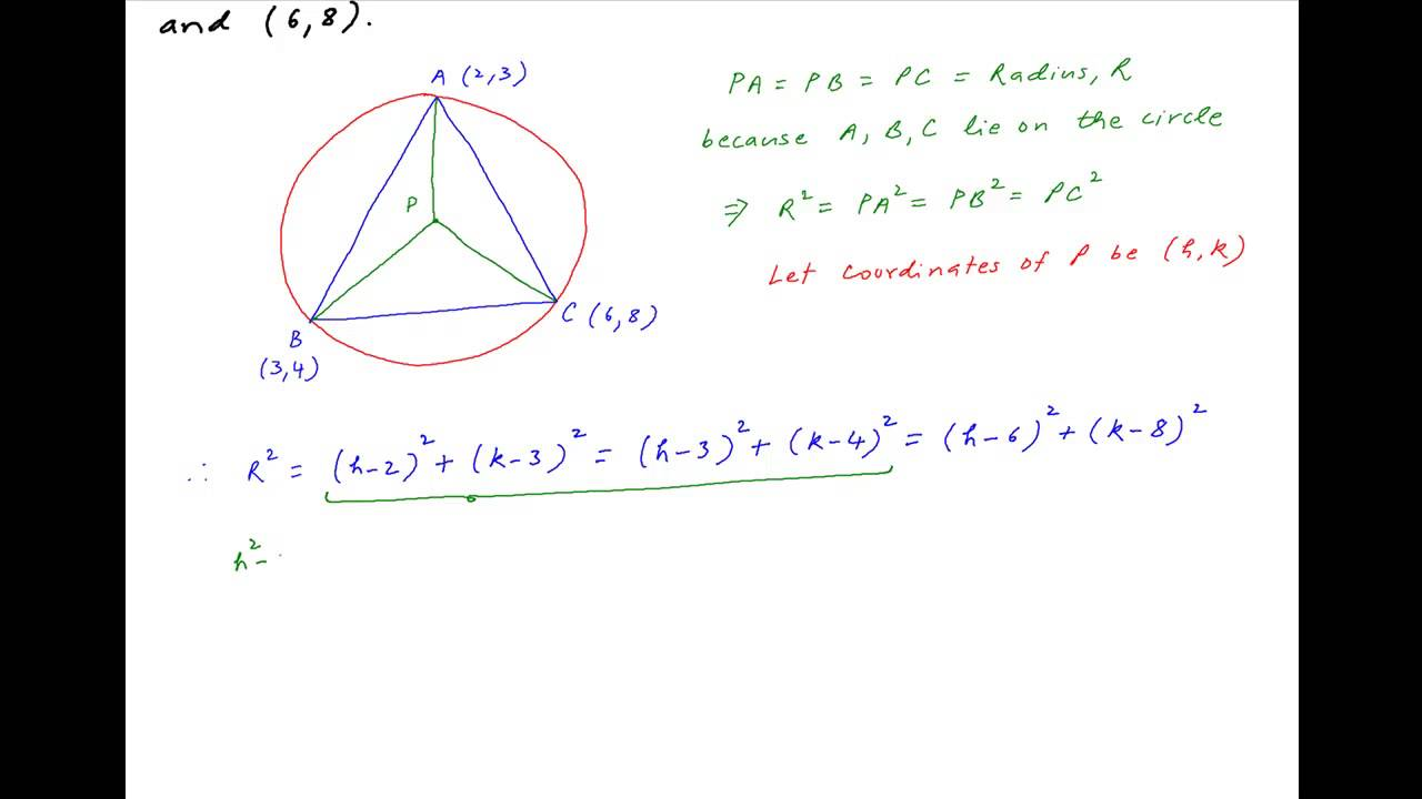 Find Center Of Circle Circumscribing A Triangle With Vertices (2,3), (3,4)  And (6,8)