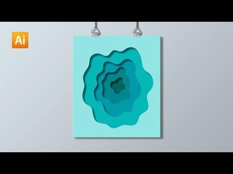 Cara Membuat Wallpaper Abstrak Efek Potongan Kertas | Adobe Illustrator Tutorial thumbnail