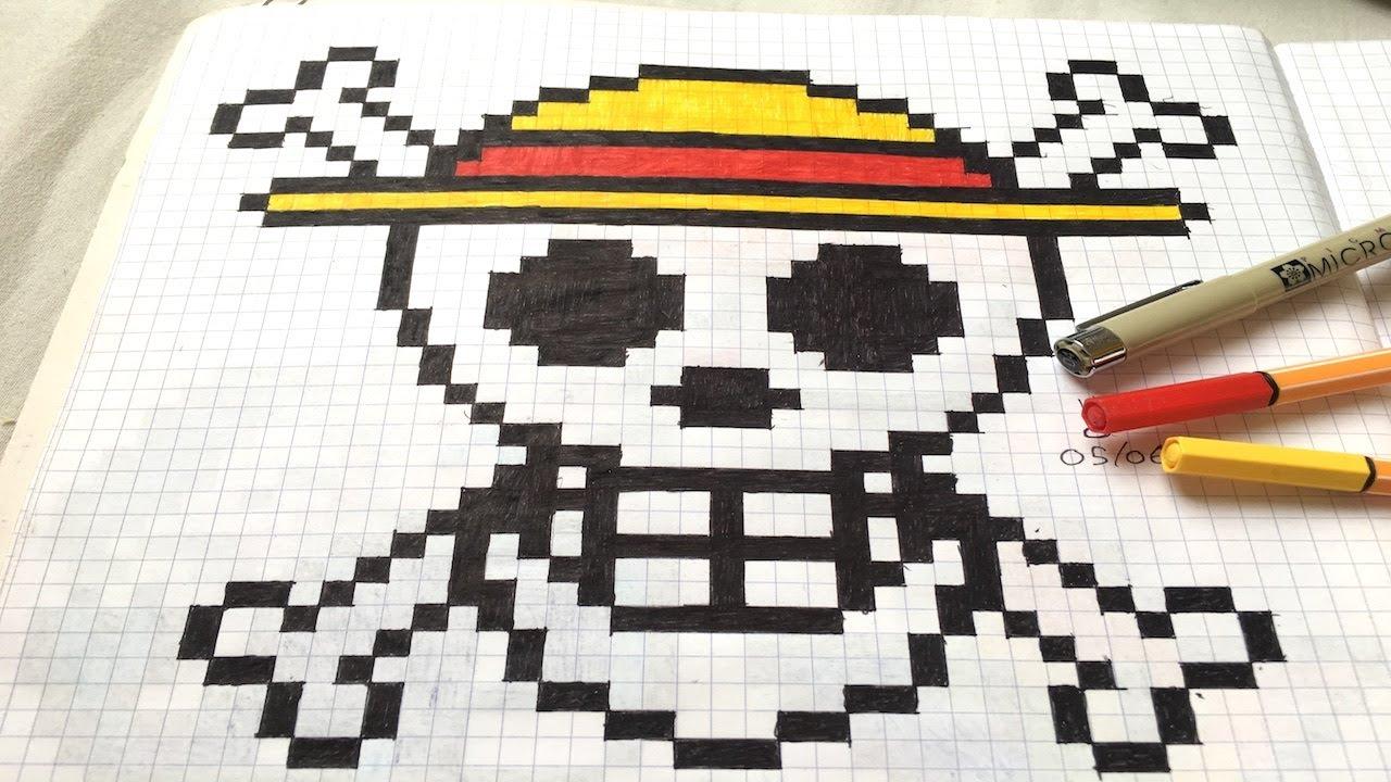Pixel Art 3 One Piece La Tête De Mort Au Chapeau De Paille