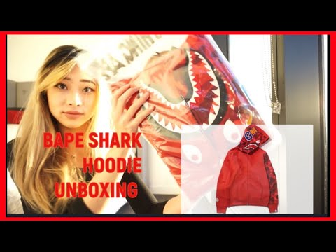 BAPE LADIES SHARK CAMO SLEEVE HOODIE UNBOXING from PONDON STORE