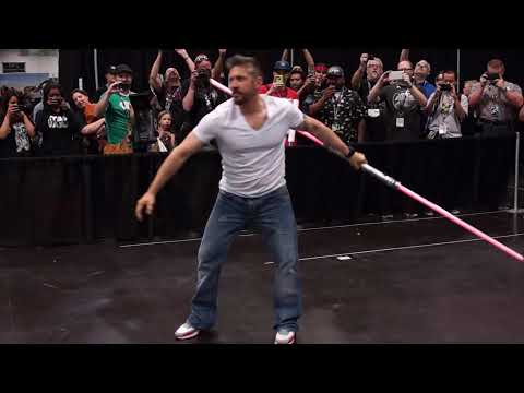Ray Park (Darth Maul) and a double-bladed lightsaber