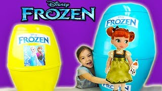 🎁 Giant Disney Frozen Surprise Eggs with Elsa & Anna Dolls and Fashems! Frozen Toys