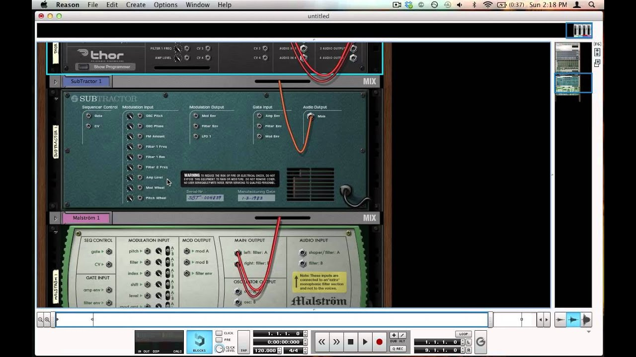 Cables And Wiring In Reason Basic Sound Design Jam House A For Tutorials
