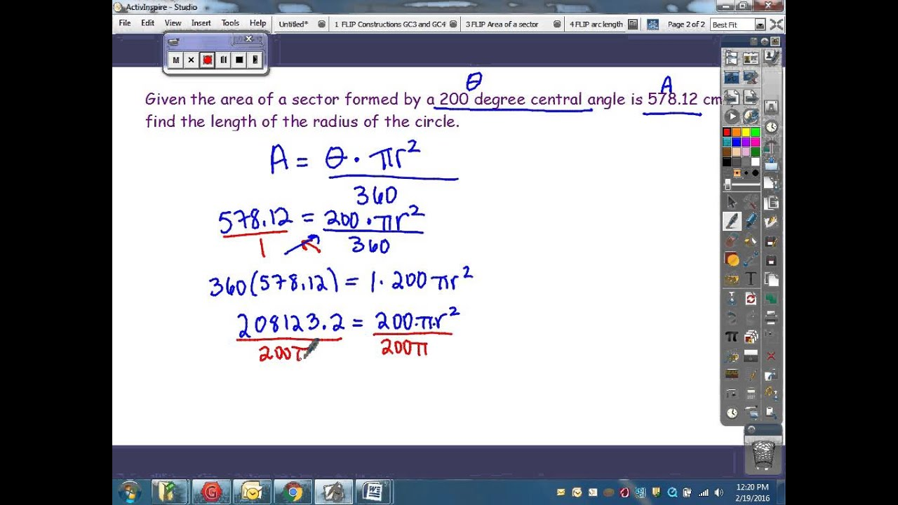 Finding radius given sector area and central angle youtube ccuart Images