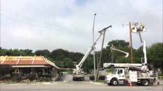 Raw Video: Downed power lines close part of North Oak Trafficway