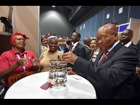 "President Jacob Zuma conducts a walkabout at the "" Made in Africa for World"" Design Expo"