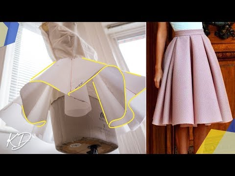 HOW TO: DRAFT BOX PLEATED CIRCLE SKIRT PATTERN  KIM DAVE