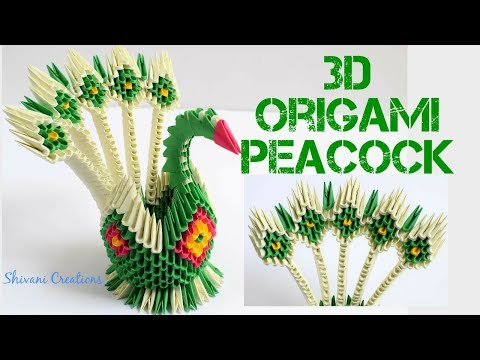 3D Origami Peacock/ How to make 5 Feather 3D Origami Peacock