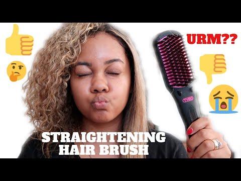 Straightening Brush On Natural Curly Hair | Tymo
