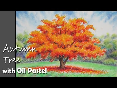 How to Paint A Autumn Tree with Oil Pastel