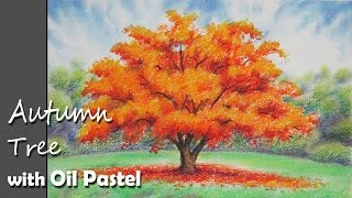 How to Paint An Autumn Tree with Oil Pastel | Lesson-1