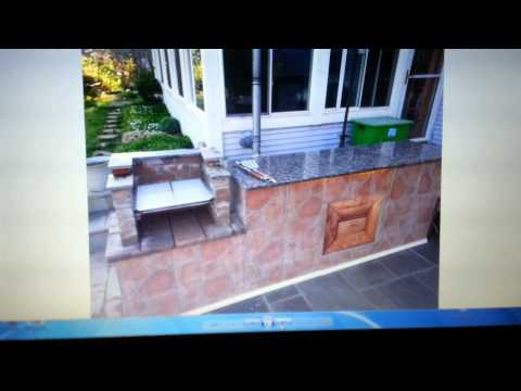 Build outdoor island with brick BBQ grill attached
