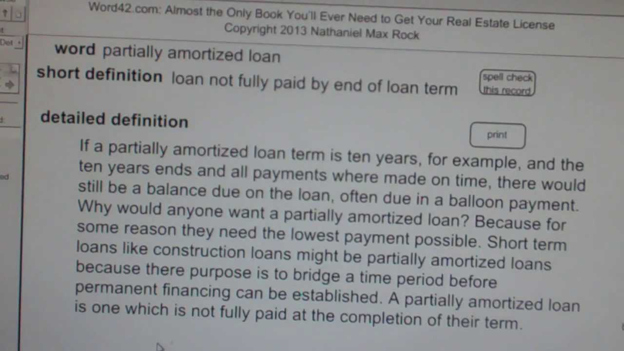 partially amortized loan CA Real Estate License Exam Top Pass Words VocabUBee.com - YouTube