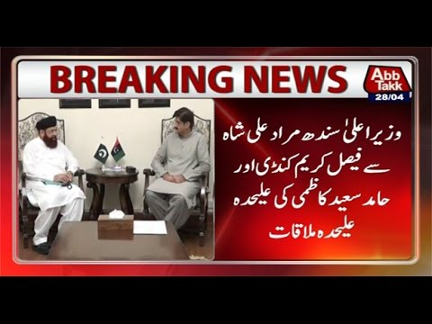 Faisal Karim Kundi, Hamid Saeed Kazmi meet CM Sindh separately