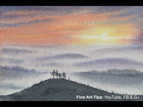 How to Paint a Sunset in Watercolor - Landscape at dusk - By ArtistLeonardo