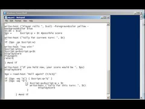 how to write a script in windows server
