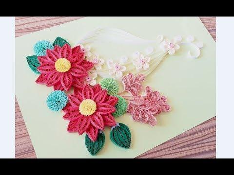 DIY Paper Quilling Flower For beginner Learning video 47 // Paper Quilling Flower Card