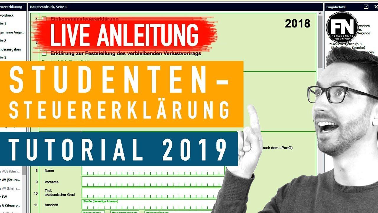 Steuererklarung Student Anleitung 2019 2018 Steuererklarung Selber Machen Elster Student Tutorial Youtube